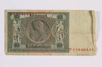 2014.480.124 back German ten Reichsmark Reischsbanknote  Click to enlarge