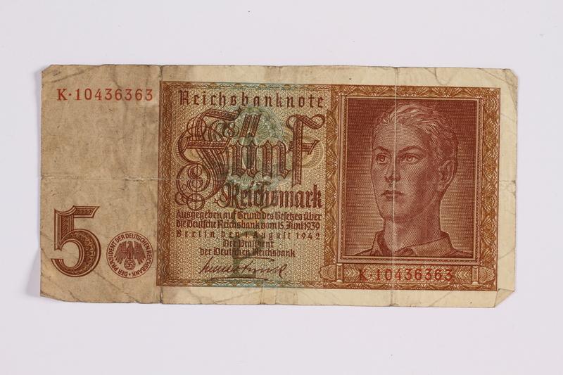 2014.480.125 front German five Reichsmark Reichsbanknote
