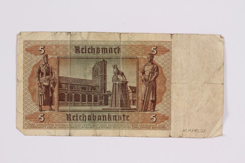 2014.480.125 back German five Reichsmark Reichsbanknote