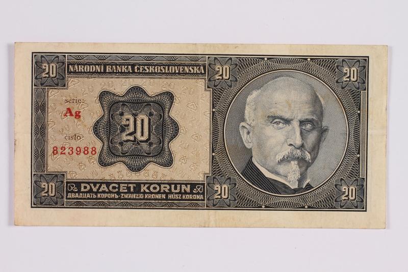 2014.480.127 front Czech twenty kronen scrip