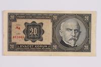 2014.480.127 front Czech twenty kronen scrip  Click to enlarge