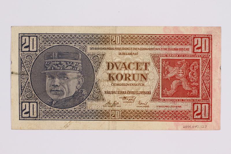 2014.480.127 back Czech twenty kronen scrip