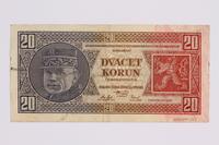 2014.480.127 back Czech twenty kronen scrip  Click to enlarge