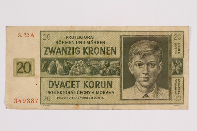 2014.480.89 front Twenty Kronen scrip