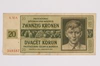 2014.480.89 front Twenty Kronen scrip  Click to enlarge