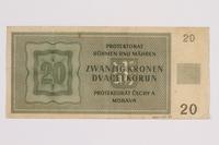 2014.480.89 back Twenty Kronen scrip  Click to enlarge