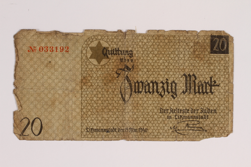 2014.489.1 front Łódź (Litzmannstadt) ghetto scrip, 20 mark note, acquired by an inmate