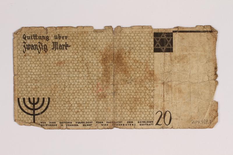 2014.489.1 back Łódź (Litzmannstadt) ghetto scrip, 20 mark note, acquired by an inmate