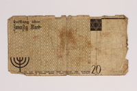 2014.489.1 back Łódź (Litzmannstadt) ghetto scrip, 20 mark note, acquired by an inmate  Click to enlarge