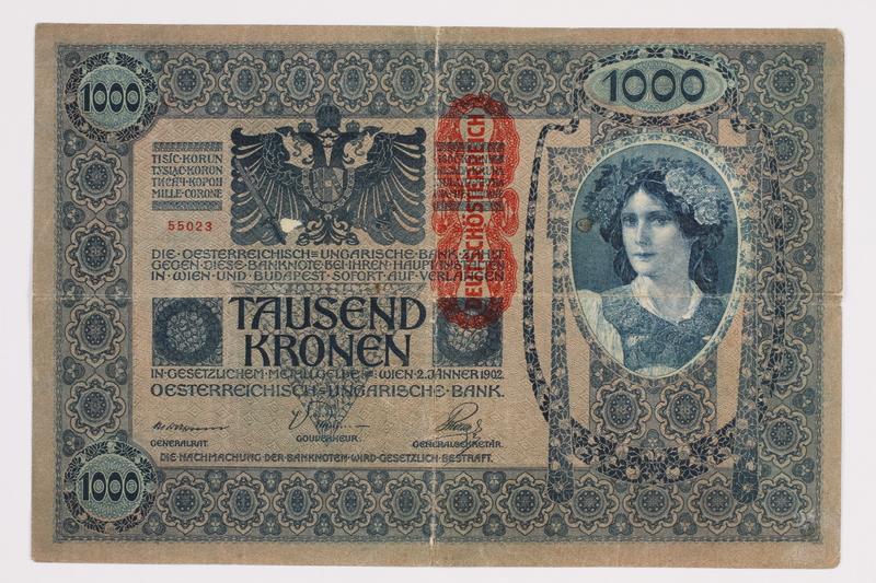 2014.480.88 front 1000 Kronen scrip