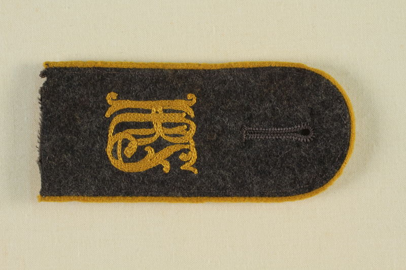 1985.1.9 front Luftwaffe KRS shoulder board with gold piping acquired by US soldier