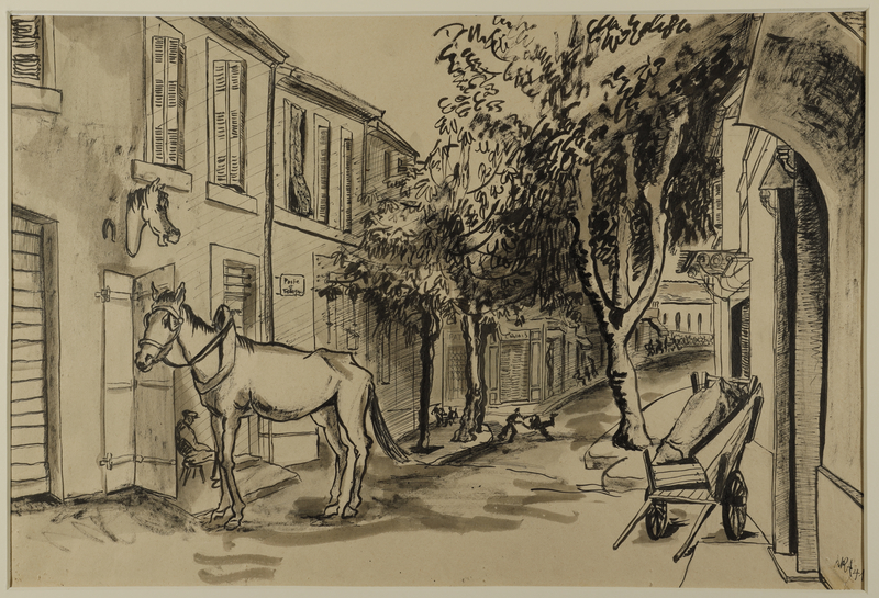 1988.1.88 front Drawing of a street scene by a German Jewish internee
