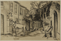 Drawing of a street scene by a German Jewish internee
