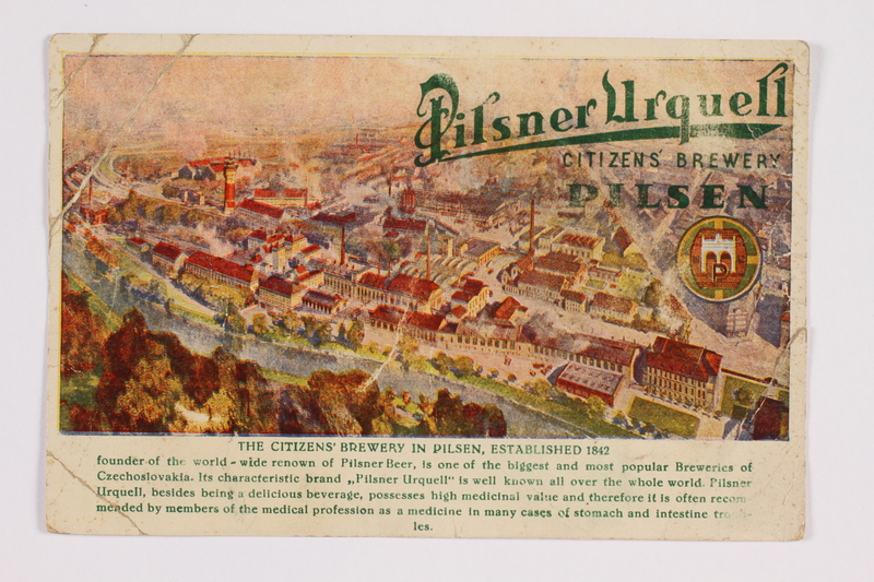 2014.480.86 front Postcard of the Pilsner Brewery in Plzen