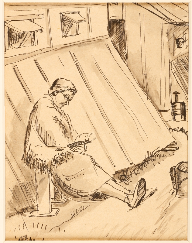 1988.1.9 front Drawing of woman reading outdoors by a German Jewish internee