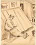 Drawing of woman reading outdoors by a German Jewish internee