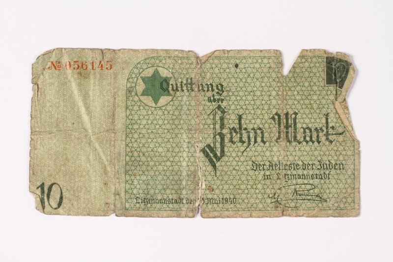 1987.90.10 front Łódź (Litzmannstadt) ghetto scrip, 10 mark note