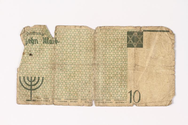 1987.90.10 back Łódź (Litzmannstadt) ghetto scrip, 10 mark note