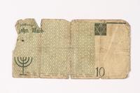 1987.90.10 back Łódź (Litzmannstadt) ghetto scrip, 10 mark note  Click to enlarge