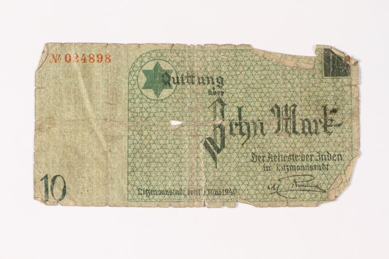1987.90.11 front Łódź (Litzmannstadt) ghetto scrip, 10 mark note