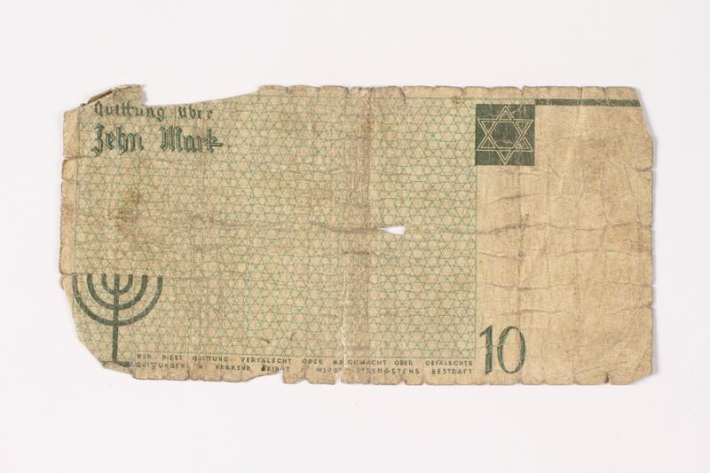 1987.90.11 back Łódź (Litzmannstadt) ghetto scrip, 10 mark note