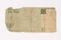 1987.90.11 back Łódź (Litzmannstadt) ghetto scrip, 10 mark note  Click to enlarge