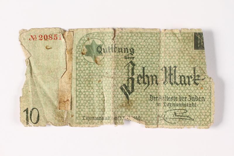 1987.90.12 front Łódź (Litzmannstadt) ghetto scrip, 10 mark note