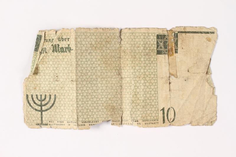 1987.90.12 back Łódź (Litzmannstadt) ghetto scrip, 10 mark note