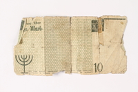 1987.90.12 back Łódź (Litzmannstadt) ghetto scrip, 10 mark note  Click to enlarge