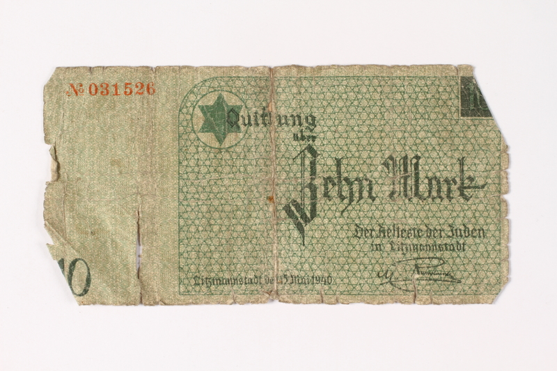 1987.90.13 front Łódź (Litzmannstadt) ghetto scrip, 10 mark note