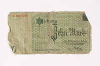 1987.90.13 front Łódź (Litzmannstadt) ghetto scrip, 10 mark note  Click to enlarge