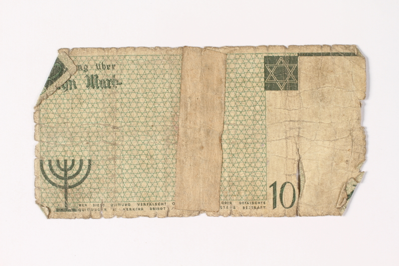 1987.90.13 back Łódź (Litzmannstadt) ghetto scrip, 10 mark note