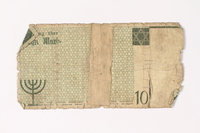 1987.90.13 back Łódź (Litzmannstadt) ghetto scrip, 10 mark note  Click to enlarge