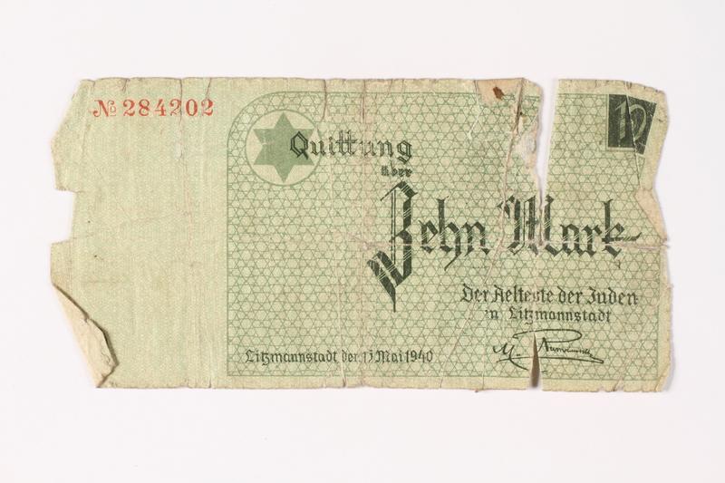 1987.90.14 front Łódź (Litzmannstadt) ghetto scrip, 10 mark note