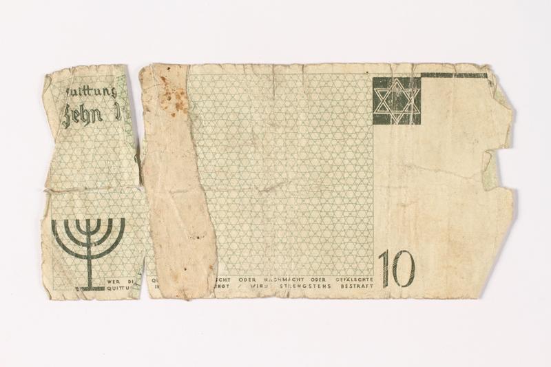 1987.90.14 back Łódź (Litzmannstadt) ghetto scrip, 10 mark note