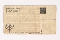 1987.90.15 back Łódź (Litzmannstadt) ghetto scrip, 5 mark note  Click to enlarge