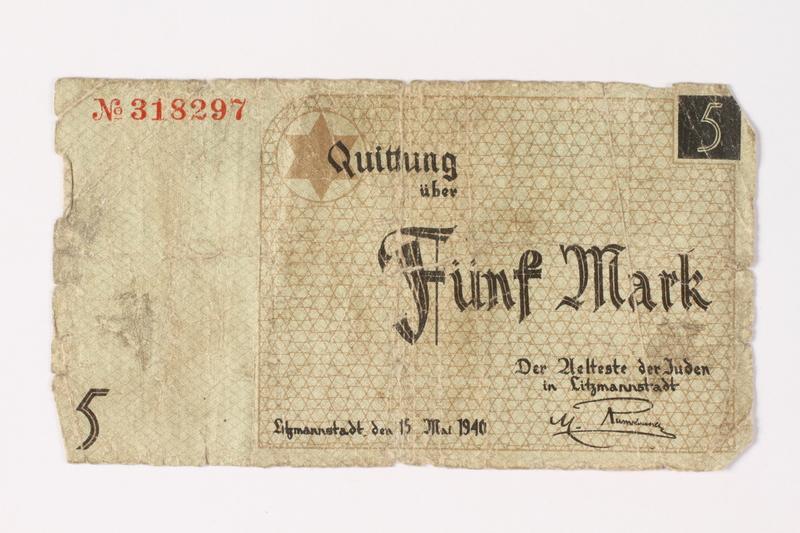 1987.90.16 front Łódź (Litzmannstadt) ghetto scrip, 5 mark note