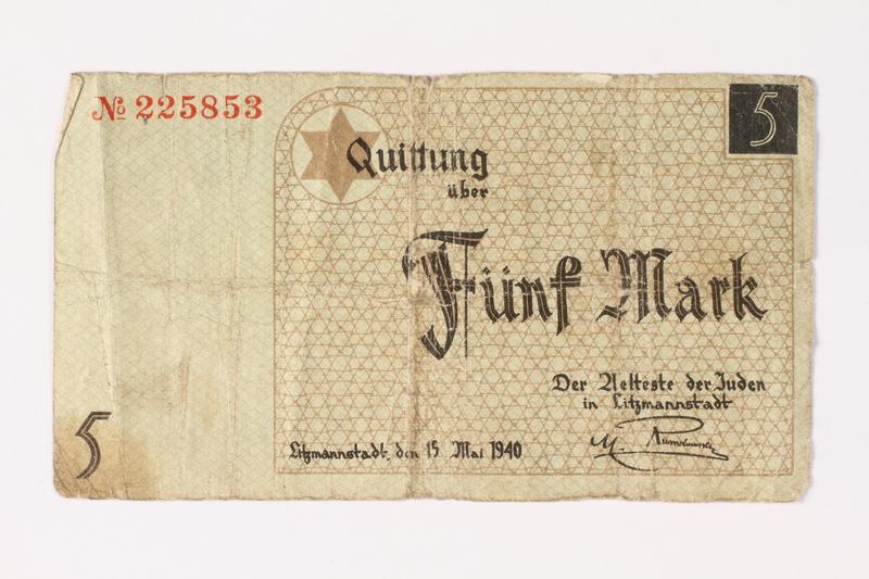 1987.90.18 front Łódź (Litzmannstadt) ghetto scrip, 5 mark note