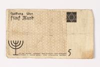 1987.90.18 back Łódź (Litzmannstadt) ghetto scrip, 5 mark note  Click to enlarge