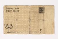 1987.90.19 back Łódź (Litzmannstadt) ghetto scrip, 5 mark note  Click to enlarge