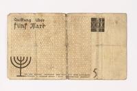 1987.90.20 back Łódź (Litzmannstadt) ghetto scrip, 5 mark note  Click to enlarge