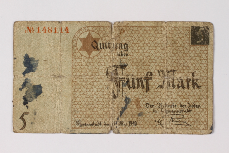 1987.90.21 front Łódź (Litzmannstadt) ghetto scrip, 5 mark note
