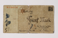 1987.90.21 front Łódź (Litzmannstadt) ghetto scrip, 5 mark note  Click to enlarge