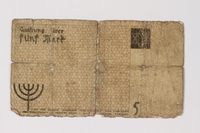 1987.90.22 back Łódź (Litzmannstadt) ghetto scrip, 5 mark note  Click to enlarge