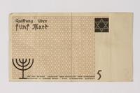 1987.90.23 back Łódź (Litzmannstadt) ghetto scrip, 5 mark note  Click to enlarge