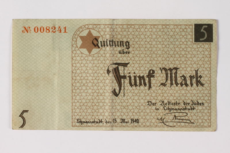 1987.90.24 front Łódź (Litzmannstadt) ghetto scrip, 5 mark note
