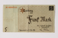 1987.90.24 front Łódź (Litzmannstadt) ghetto scrip, 5 mark note  Click to enlarge