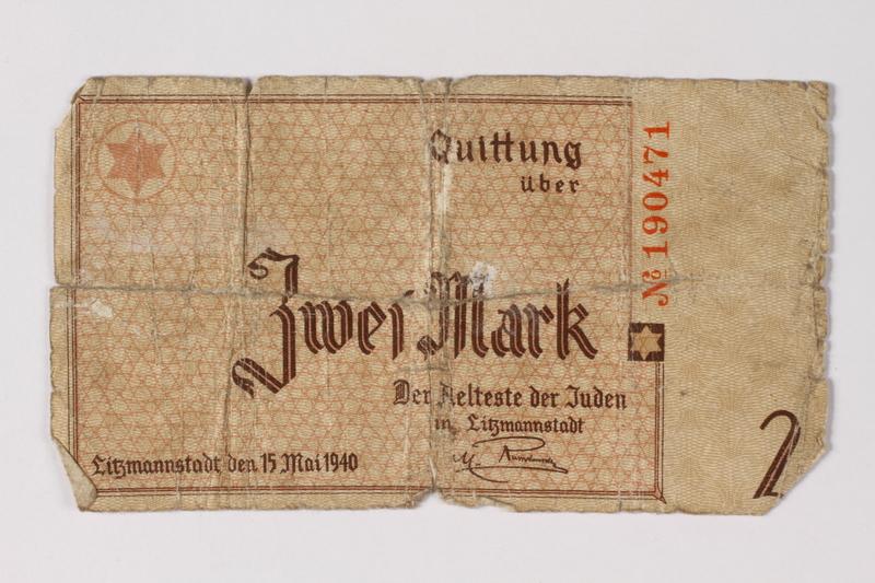 1987.90.25 front Łódź (Litzmannstadt) ghetto scrip, 2 mark note