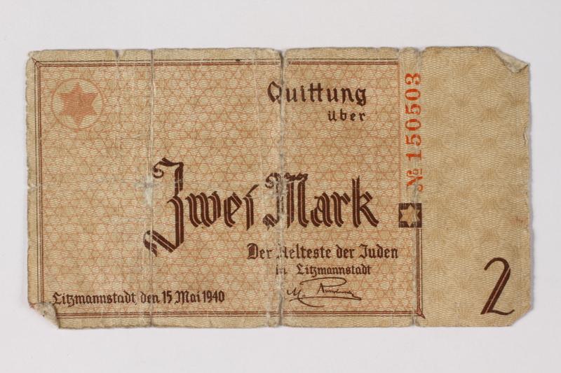 1987.90.26 front Łódź (Litzmannstadt) ghetto scrip, 2 mark note