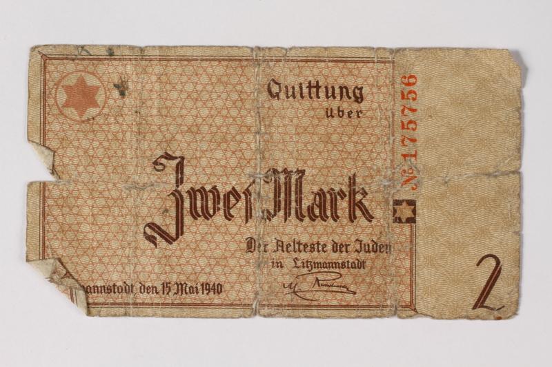 1987.90.27 front Łódź (Litzmannstadt) ghetto scrip, 2 mark note